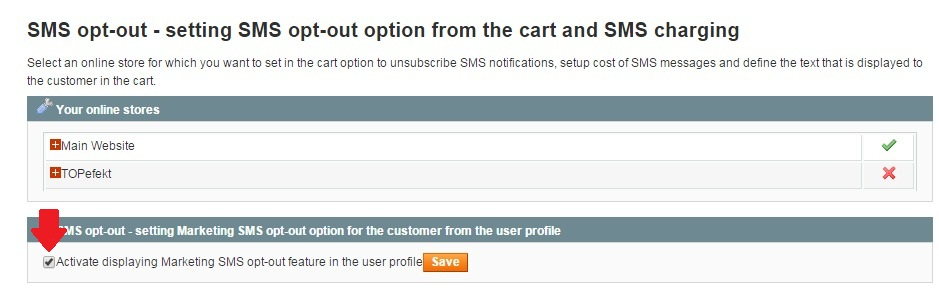 Marketing SMS opt-out activation